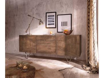 DELIFE Design-Sideboard Wyatt 175 cm 3D Optik mittig Akazie Braun Edelstahl, Sideboards