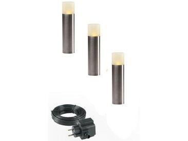Garden Lights LED-Pollerleuchte Oak 3 Stück Edelstahl 4122603