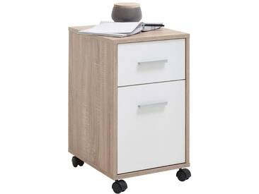 FMD Mobiler Schubladenschrank Eichefarbe und Weiß