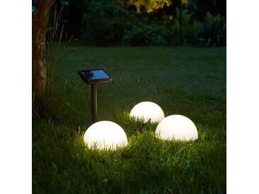 Luxform Solar LED Gartenleuchten Clervaux 3 Stk. Weiß Halbkugel 40300