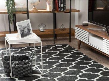 Beliani Outdoor Teppich schwarz-weiss 160 x 230 cm zweiseitig ALADANA