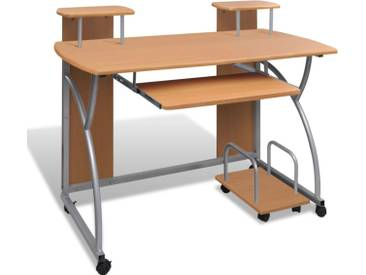 vidaXL Computertisch PC Tisch Mobiler Computerwagen Bürotisch Laptop braun