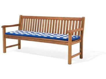 Beliani Auflage für Gartenbank TOSCANA/JAVA blaues ZickZack Muster 169 x 50 x
