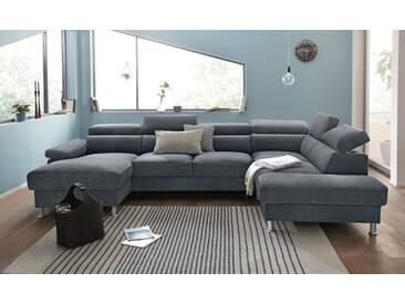 Nova Via Wohnlandschaft, wahlweise mit Bettfunktion, grau, Aqua Clean Pascha