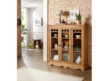 Home affaire Glasvitrine »Melissa« mit 3 Türen, aus massivem Kiefernholz, mit dekorativer Rahmenoptik, Höhe 135 cm, braun