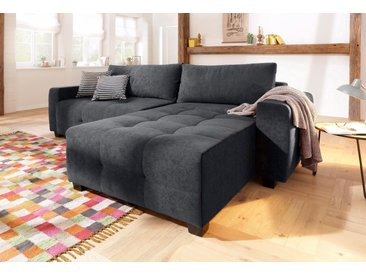 Home affaire Ecksofa »Bella«, wahlweise mit Bettfunktion und Bettkasten, Steppung im Sitzbereich, grau, Microfaser PRIMABELLE®