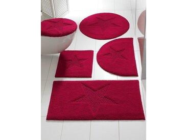 heine home Badteppich mit Stern-Motiv, rot, Set: Deckelbezug ca.47/50cm+ca.45/50cm, o. Ausschnitt