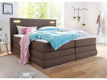COLLECTION AB Boxspringbett »Rubona«, inkl. Bettkasten, LED-Beleuchtung und Topper, braun, Struktur (100% Polyester)
