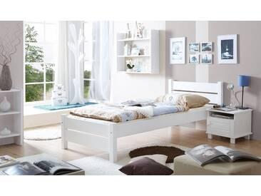 Ticaa Bett »Bora« in diversen Breiten, Kiefer, weiß, Liegefläche 100x200 cm