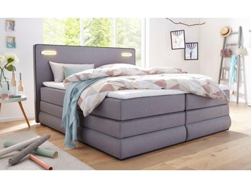 COLLECTION AB Boxspringbett »Rubona«, inkl. Bettkasten, LED-Beleuchtung und Topper, grau