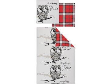 Wendebettwäsche »Owl«, my home, mit Eulen-Motiv, rot, Linon