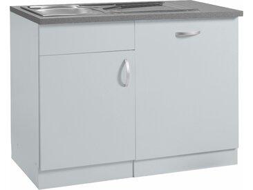 wiho Küchen Spülenschrank »Amrum« 110 cm breit, inkl. Tür/Sockel für Geschirrspüler, grau