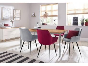 INOSIGN Stuhlset »Lisha« (2 Stück) in elegantem Design mit weichem Velvet Bezug und Metallbeinen, Sitzhöhe 49 cm, rot