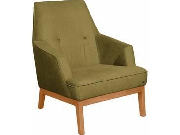 TOM TAILOR Sessel »COZY« im Retrolook, mit Kedernaht und Knöpfung, Füße Buche natur, grün, Modischer Samtstoff STC