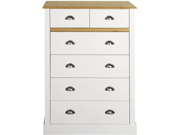 Home affaire Kommode »Sandringham« mit 6 Schubladen, Breite 78 cm, weiß