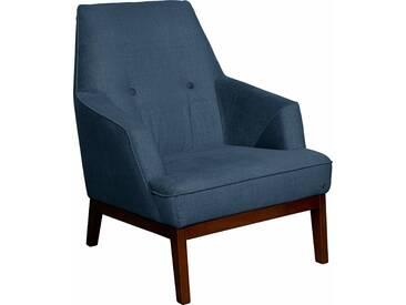 TOM TAILOR Sessel »COZY« im Retrolook, mit Kedernaht und Knöpfung, Füße nussbaumfarben, blau, Modischer Samtstoff STC