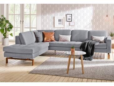 andas Ecksofa »Taranto«, elegantes Design, edles Fußgestell aus Holz, grau, Struktur fein