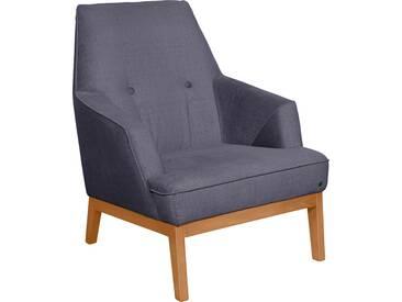 TOM TAILOR Sessel »COZY« im Retrolook, mit Kedernaht und Knöpfung, Füße Buche natur, lila, Vintage Webstoff TUS