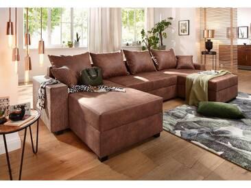 Home affaire Wohnlandschaft »Jersey« mit Bettfunktion + Bettkasten, Federkern, braun, Luxus-Microfaser Lederoptik