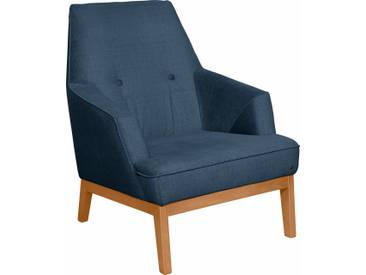 TOM TAILOR Sessel »COZY« im Retrolook, mit Kedernaht und Knöpfung, Füße Buche natur, blau, Modischer Samtstoff STC
