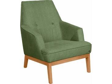 TOM TAILOR Sessel »COZY« im Retrolook, mit Kedernaht und Knöpfung, Füße Buche natur, grün, Vintage Webstoff TUS