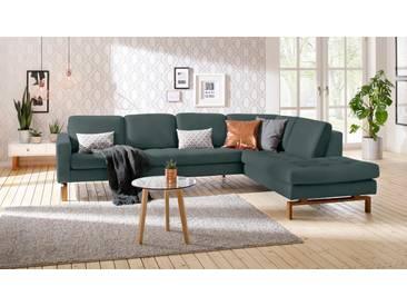andas Ecksofa »Taranto«, elegantes Design, edles Fußgestell aus Holz, grün, Struktur fein
