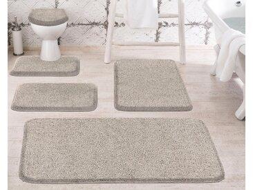 Badematte »Melange« Grund, Höhe 27 mm, rutschhemmend beschichtet, besonders dichter Flor, braun, WC-Deckelbezug 47x50 cm