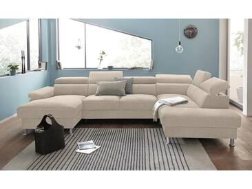 Nova Via Wohnlandschaft, wahlweise mit Bettfunktion, beige, Aqua Clean Pascha