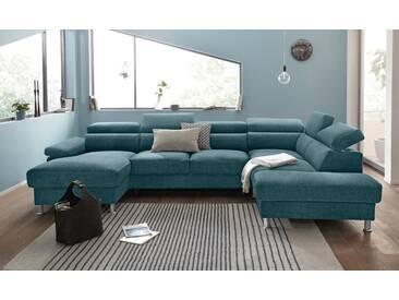 Nova Via Wohnlandschaft, wahlweise mit Bettfunktion, grün, Aqua Clean Pascha