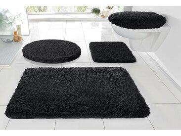 Badematte »RELAX« Kleine Wolke, Höhe 30 mm, rutschhemmend beschichtet, fußbodenheizungsgeeignet, schwarz, WC-Deckelbezug 47x50 cm