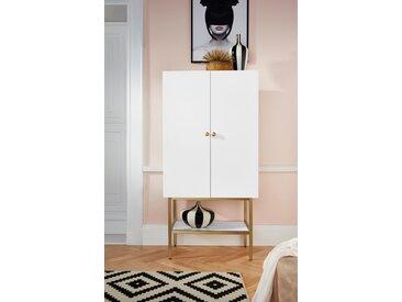Leonique Barschrank »Gambia« mit zwei Türen und Soft-Close-Funktion, mit Holzgriffen, Höhe 150 cm, weiß