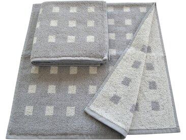 Handtücher »Vernice«, Dyckhoff, mit kleinen Karos versehen, silber, Walkfrottee, 2x 50x100 cm