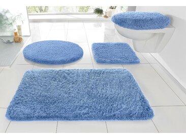 Badematte »RELAX« Kleine Wolke, Höhe 30 mm, rutschhemmend beschichtet, fußbodenheizungsgeeignet, blau, WC-Deckelbezug 47x50 cm