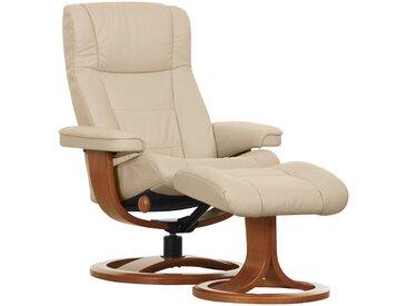 Places of Style Set: Relaxsessel mit Hocker »Nordic 10«, mit integrierter stufenloser Kopfpolsterverstellung, beige, Leder PRIME