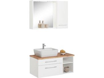 HELD MÖBEL Waschtisch-Set »Davos«, (Set, 3-tlg), mit Hängeschrank und Spiegel, weiß