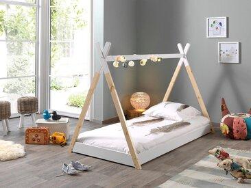 Vipack Bett »Tipi« in Tipi-Zelt-Optik, Kiefer massiv weiß lackiert/natur geölt