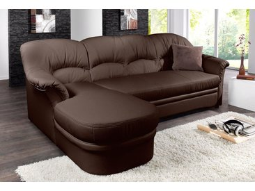 DOMO collection Ecksofa, wahlweise mit Bettfunktion, braun, NaturLEDER®, 233 cm x 84 cm x 142 cm