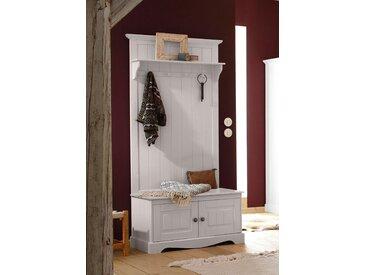 Home affaire Kompaktgarderobe »Melissa«, aus massiver Kiefer, mit geschwungener Sockelleiste , Breite 85 cm, weiß