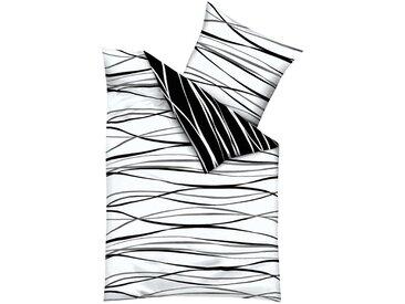 Wendebettwäsche »Motion«, Kaeppel, mit feinen Wellenlinien, schwarz, Feinbiber