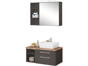 HELD MÖBEL Waschtisch-Set »Davos«, (Set, 3-tlg), mit Regal und Spiegelschrank, grau