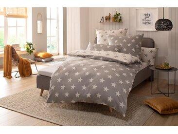 Wendebettwäsche »Stella«, my home, mit Sternen-Muster, grau, Biber