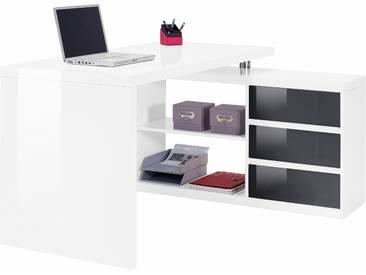 Winkel-Schreibtisch, HMW, »Split«, mit Regalelement und 3 Schubkästen, weiß