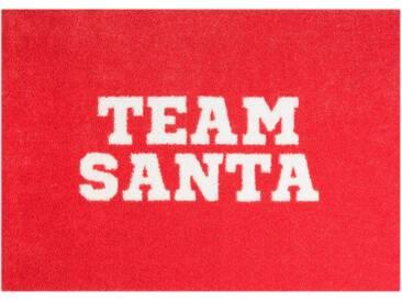 Fußmatte »Team Santa«, MINT RUGS, rechteckig, Höhe 7 mm, In- und Outdoor geeignet, waschbar, rot, 50x70 cm