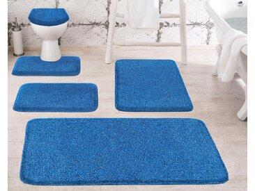 Badematte »Melange« Grund, Höhe 27 mm, rutschhemmend beschichtet, besonders dichter Flor, blau, WC-Deckelbezug 47x50 cm