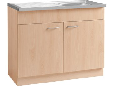 wiho Küchen Spülenschrank »Kiel« 100 cm breit mit Auflagespüle, beige