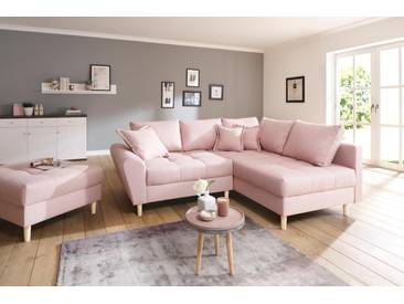 Home affaire Ecksofa »Rice«, incl. Hocker, mit Federkern, rosa, Struktur fein