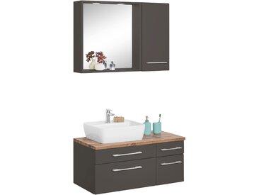 HELD MÖBEL Waschtisch-Set »Davos«, (Set, 3-tlg), mit Hängeschrank und Spiegel, grau