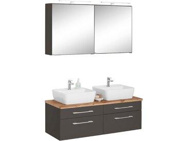 HELD MÖBEL Waschtisch-Set »Davos«, (Set, 3-tlg), mit 2 Spiegelschränken, grau