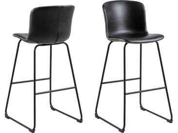 andas Barhocker »Sigwald« (Set, 2 St), mit einem schönen Kunstleder Bezug, schwarze Kufenmetallbeine, Sitzhöhe 75 cm