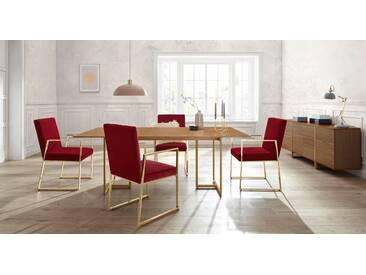 GMK Home & Living 2er Set Esszimmerstuhl »Kiarwei« mit elegantem Metallgestell und weichem Samtchenille Bezug, Guido Maria Kretschmer Home&Living, rot